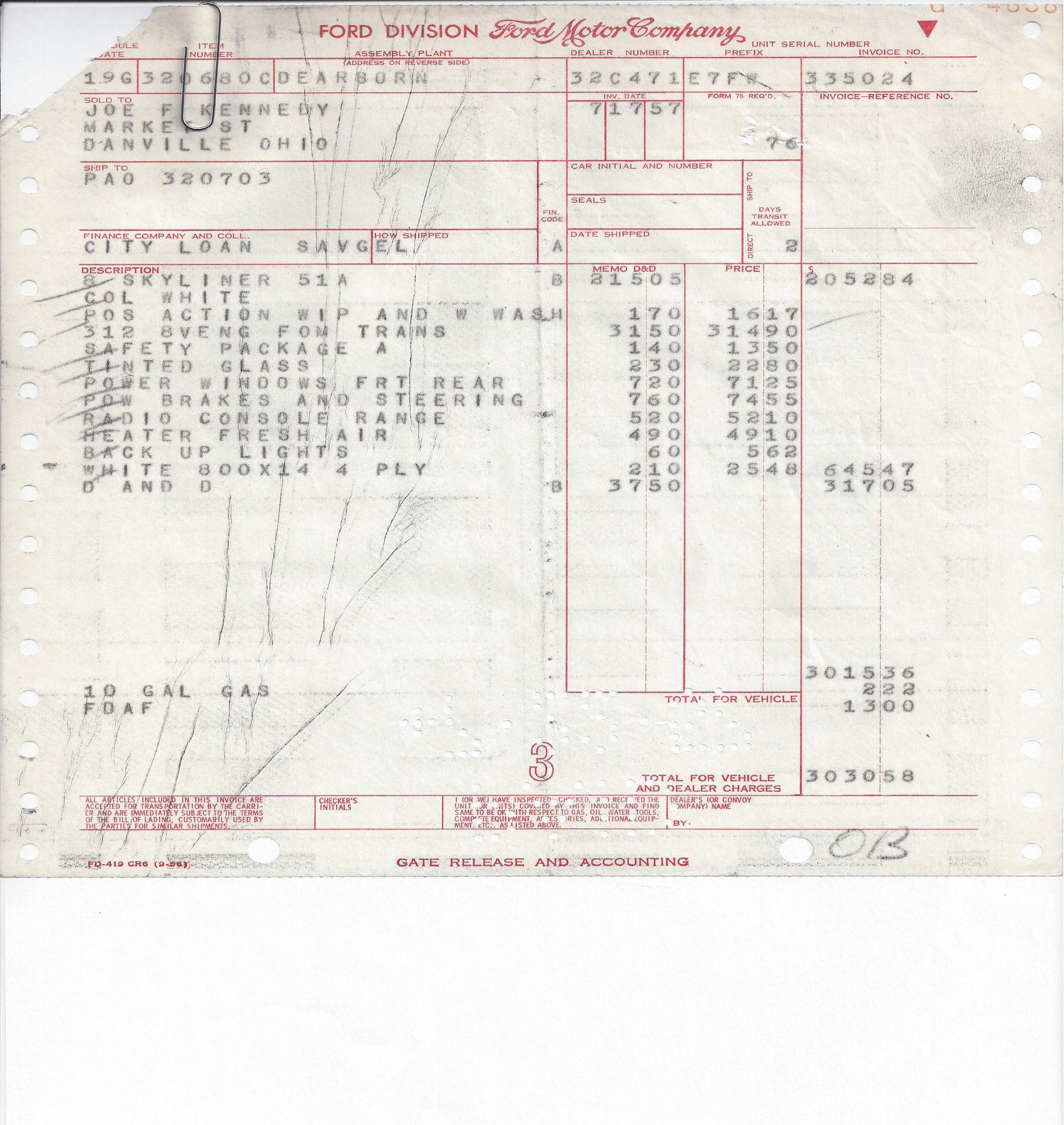 """Ford Factory Invoice--for this car! Factory Invoice. 1957 Ford """" ..."""